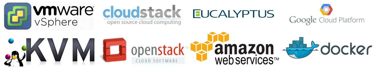VMWare, KVM, CloudStack, OpenStack, Eucalyptus, Amazon AWS, Docker, Google Cloud